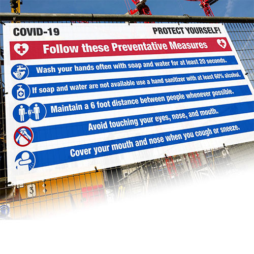 covid-19 mesh fence banner, 6 ft x 12 ft, preventative measures