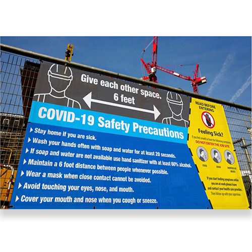 covid-19 mesh fence banner, 5 ft x 10 ft
